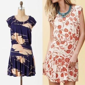 Anthropologie Blue Floral Drop Waist Dress Sz M